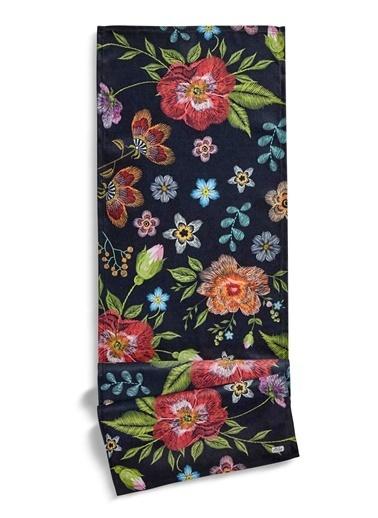 The Mia Floral Runner A - 140 x 40 Cm - Siyah Çiçekli Siyah